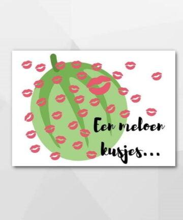 Een meloen kusjes - Beterschapskaarten bij Echt-wel.nl
