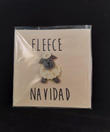 Kerstkaart vierkant Fleece Navidad - Handgemaakte producten bij Echt-wel.nl