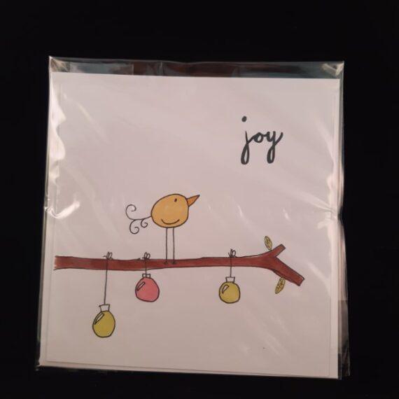 Kerstkaart vierkant Joy - Handgemaakte producten bij Echt-wel.nl