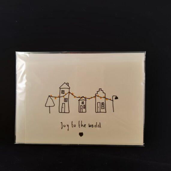 Kerstkaart a6 Joy to the world - Handgemaakte producten bij Echt-wel.nl