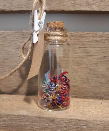 Glazen potje feestje - Handgemaakte producten bij Echt-wel.nl