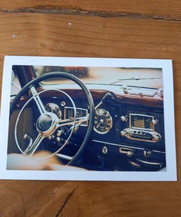 Handgemaakte kaart a6 - vintage stuur
