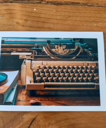 Handgemaakte kaart a6 - vintage typemachine