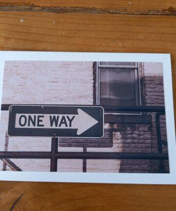 Handgemaakte kaart a6 - vintage one way